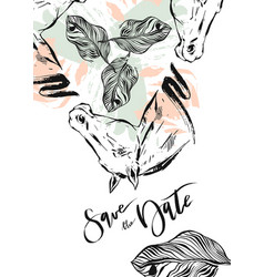 Hand drawn abstract modern boho tropical vector