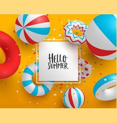 hello summer card template 3d pool life saver vector image