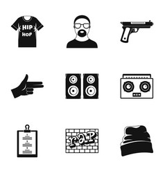 hip hop icon set simple style vector image