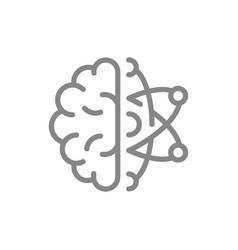 human brain with atom line icon engineering vector image