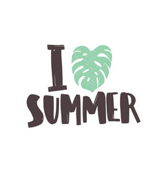 i love summer phrase written with creative funky vector image