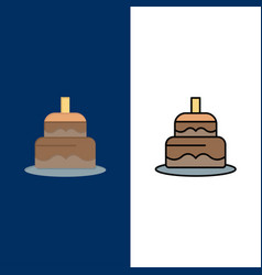 Indian cake day country icons flat and line vector