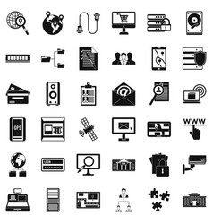 Information security icons set simple style vector