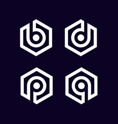 Initial letter b d p q logo set template vector