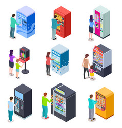 isometric vending machine and people customers vector image