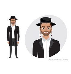 Jew character isolated on white background vector
