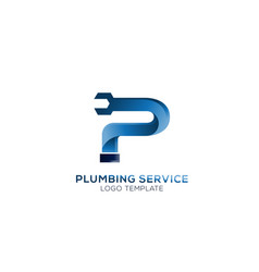 letter p with wrench plumbing logo vector image