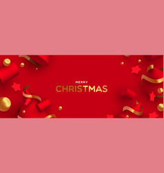 Merry christmas banner 3d red and gold ornament vector