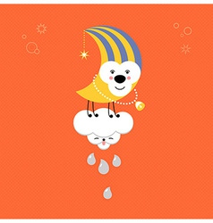 Moon and Cloud in the sky Cute kawaii animalistic vector image