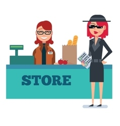 Mystery shopper woman in spy coat checks grocery vector image