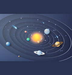 paper art of solar system circle backgroundthe vector image