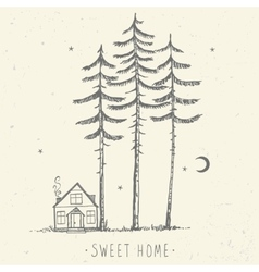pine and house silhouette vector image