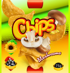 Potato chips mushrooms flavor design packaging 3d vector