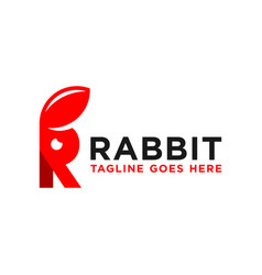 Rabbit inspiration logo with letter r vector