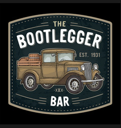Retro pickup truck with wood barrel bootlegger vector