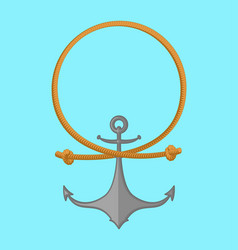 rope and anchor sea emblem vector image