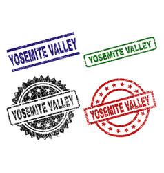 Scratched textured yosemite valley stamp seals vector
