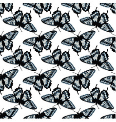 seamless pattern with bright butterflies hand vector image
