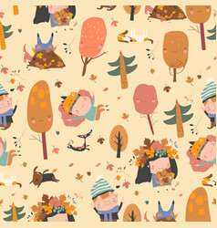 Seamless pattern with happy kids playing vector