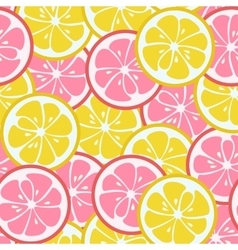 Seamless pattern with pink and yellow citrus vector