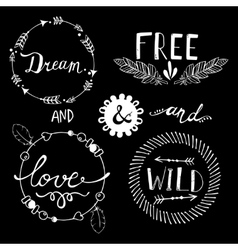 Set of Boho Style Frames and elements vector image