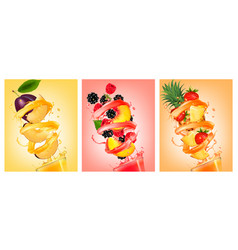 set of fruit in juice splashes peach strawberry vector image