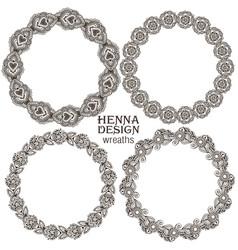 Set of henna floral frames vector