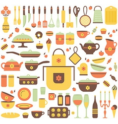 Set of kitchen utensils and food vector image