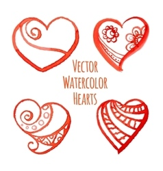 Set of watercolor hearts vector