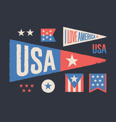 set symbols usa vintage retro graphic flag vector image