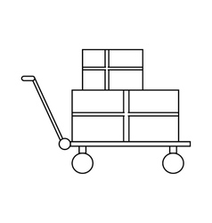 Shopping cart with boxes icon outline style vector image vector image