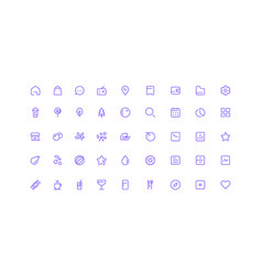 simple line icons set vector image