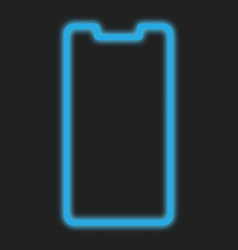 smartphone line frame blue neon design for mobile vector image