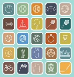 Sport line flat icons on green background vector
