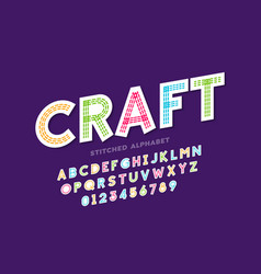stitched font design vector image