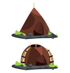 Stone age style homes cartoon vector