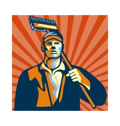Street cleaner holding broom front retro vector