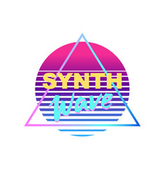 Synth wave icon vector