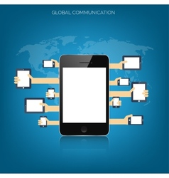 Tablet and smartphone in human handsGlobal vector image vector image