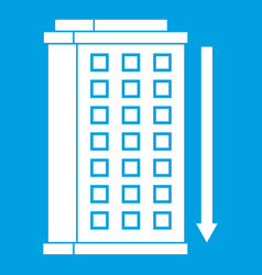 Tall building and down arrow icon white vector