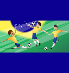 team brazil football soccer players set vector image