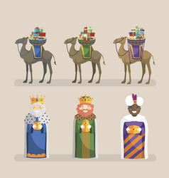 three kings with camels and gifts set vector image