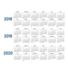 Three years calendar 2018 2019 2020 isolated vector