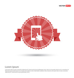 touch screen icon - red ribbon banner vector image