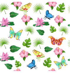 Tropical flowers and butterflies seamless pattern vector