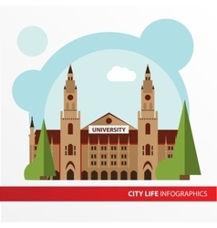 Univercity building icon in the flat style vector image