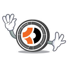 waving bitcoin dark character cartoon vector image vector image