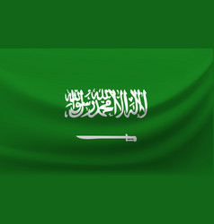 Waving national flag of saudi arabia vector