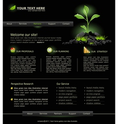 Web site for business black with green sprout vector
