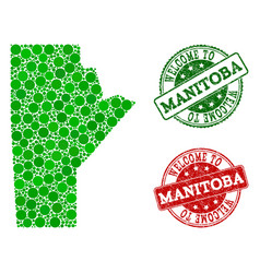 Welcome collage of map of manitoba province and vector